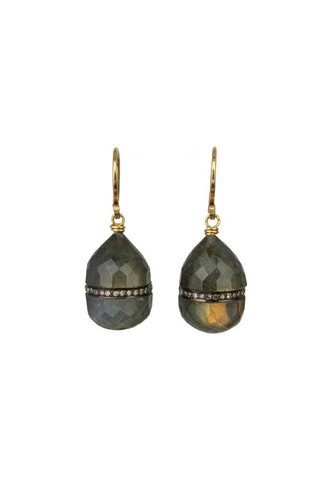 Dana Kellin Fine Diamond Labradorite 14K Earrings