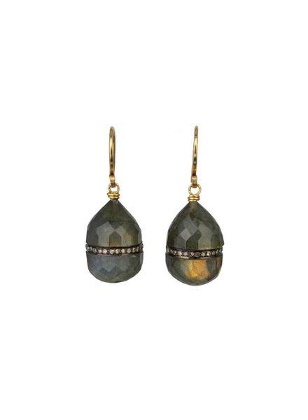 Dana Kellin Fine Diamond Labradorite 14K Earrings
