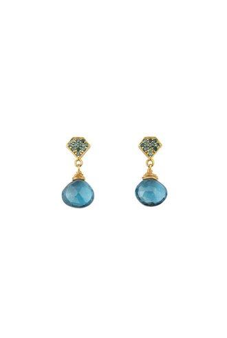 Dana Kellin Fine Teal Diamond London Blue Topaz 14K Earrings