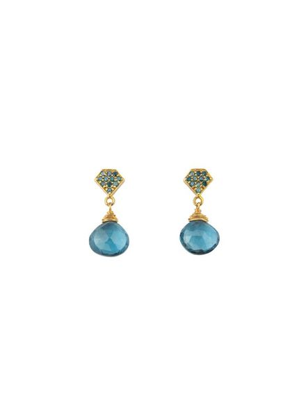 Dana Kellin Fine Teal Diamond London Blue Topaz 14K Earrings