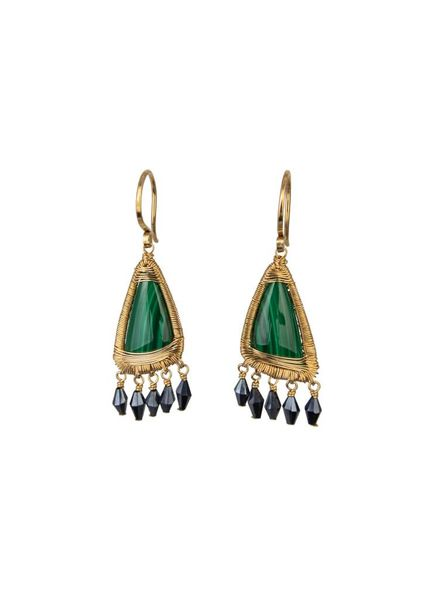 Dana Kellin Fine Malachite Black Spinel 14K Earrings