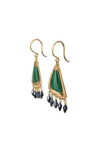 Dana Kellin Fine Malachite Black Spinel 14K Earrings