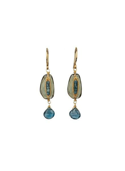 Dana Kellin Fine Teal Diamond Olive Quartz 14K Earrings