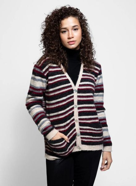 Local Ginger Cardigan Natural Stripe