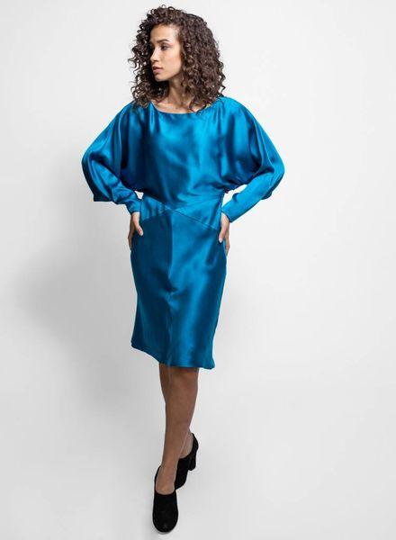 Nicole Miller Charmeuse Dress Aqua