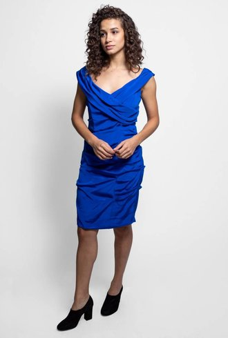 Nicole Miller Ruched Back Zip Dress Cobalt