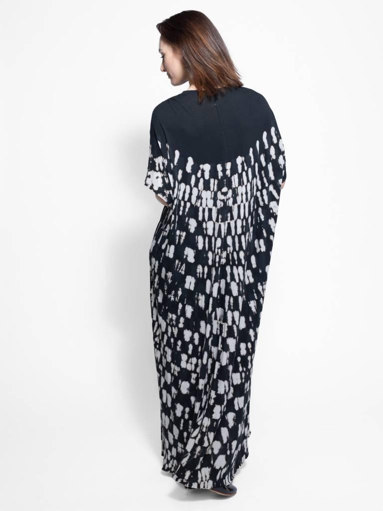 Raquel Allegra Gathered Caftan Maxi Dress Black Tie Dye Women S