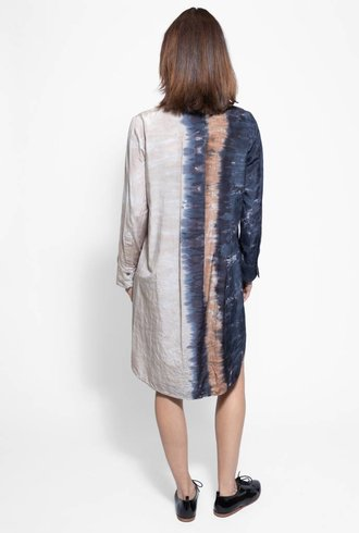 Raquel Allegra Henley Tunic Dress Cave Stripe Tie Dye