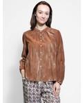 Raquel Allegra Shirred Bell Blouse Spice Tie Dye