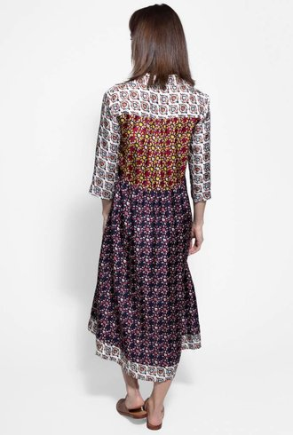Raquel Allegra Tiered Peasant Dress Black Multi