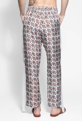 Raquel Allegra Ribbon Tux Pant White Brown Paisley