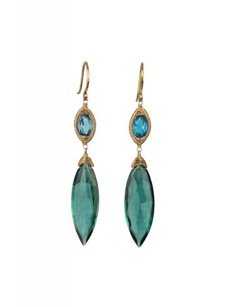 Teal Quartz 14K Teardrop Earrings
