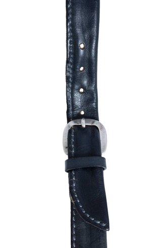Orciani Top Stitched Leather Belt Navy