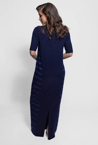 Raquel Allegra Column Dress Blue Water Tie Dye