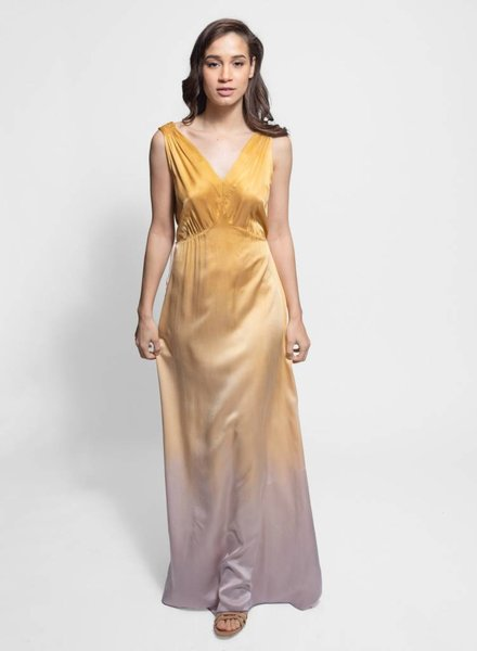 Raquel Allegra Kate Slip Dress Golden Sun Tie Dye