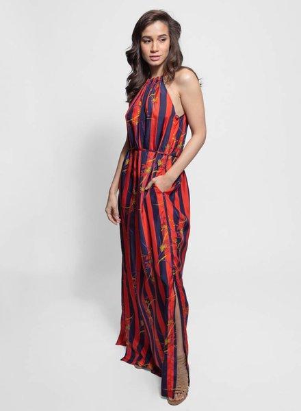 Raquel Allegra Halter Dress Nightshade Stripe