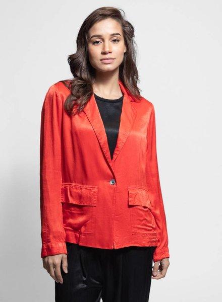 Raquel Allegra Satin Cargo Blazer Red