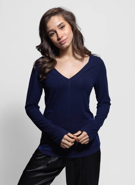 Raquel Allegra Fitted V Neck Blue Water Tie Dye