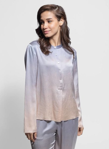 Raquel Allegra Silk Blouse Silver Glow Tie Dye