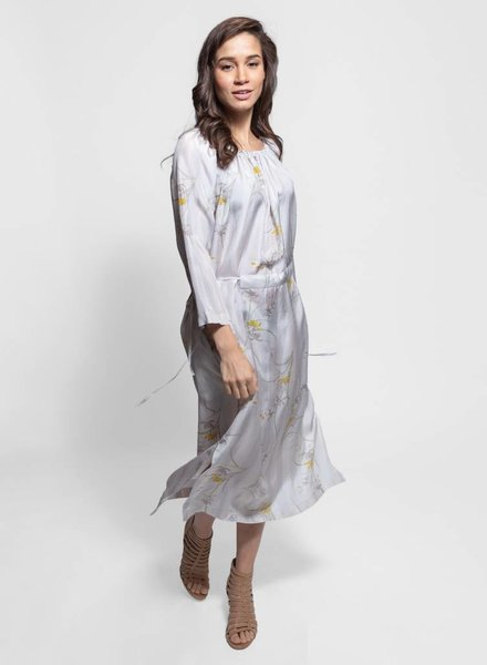 Raquel Allegra Gather Neck Dress Sterling Cream Stripe