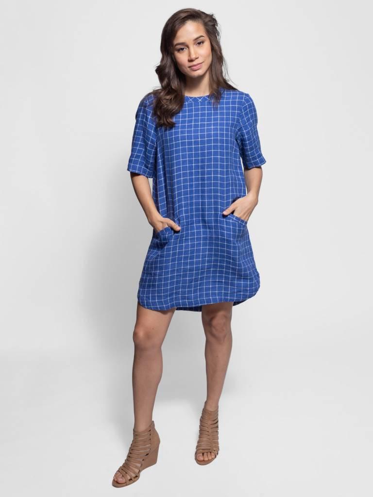 d61f918e747 Trovata - Raffi Shift Dress Navy Windowpane - Women s Clothing ...