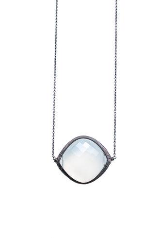 Dana Kellin Fashion Framed White Chalcedony Necklace
