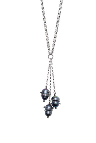 Three Black Studded Pearl Necklace