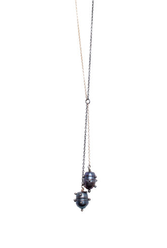 Gold and Silver Chain with Black Pearl Necklace