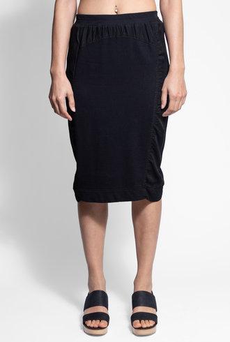 Burning Torch Union Italian Fleece and Twill Mixed Skirt Black