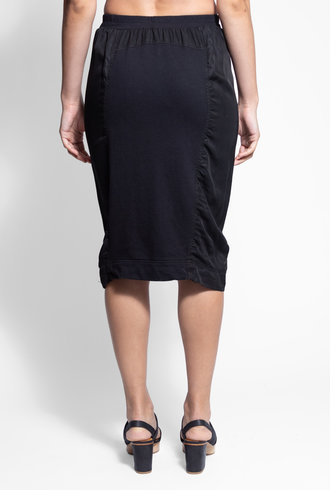 Burning Torch Union Italian Fleece and Twill Mixed Skirt Black