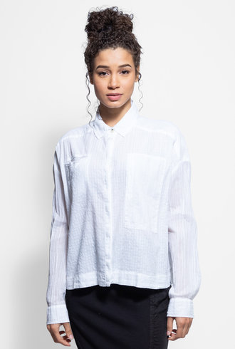Burning Torch Bob Long Sleeve Cotton Blouse White