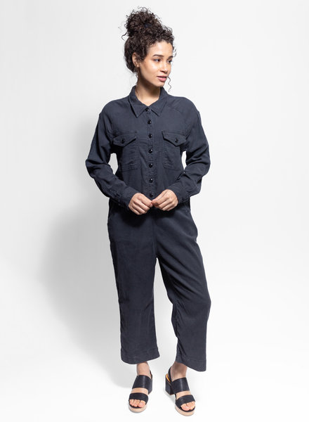 The Great The Cropped Boiler Suit Washed Black