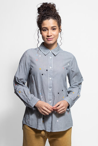 The Great Oversized Swing Oxford Stripe with Embroidery