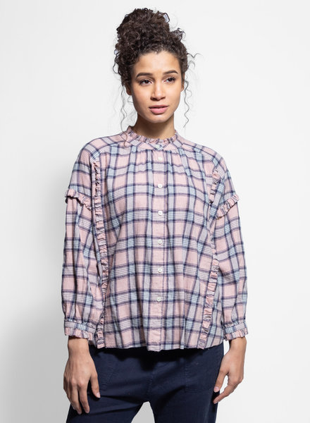 The Great The Handsome Top Pink & Navy Plaid
