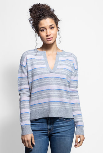 360 Sweater Rosa V Neck Sweater Heather Grey Multi