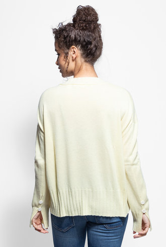 Inhabit Button Cuff Sweater Lemon