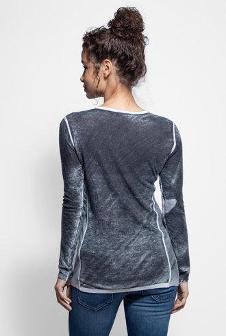 Kokun Overdyed Fitted Crew Neck Black