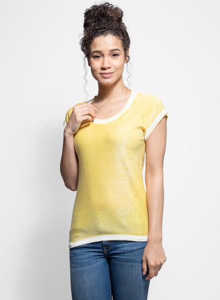 Kokun Cap Sleeve Overdyed Top Sunshine