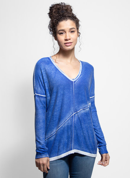 Kokun V Neck Top Vivid Blue