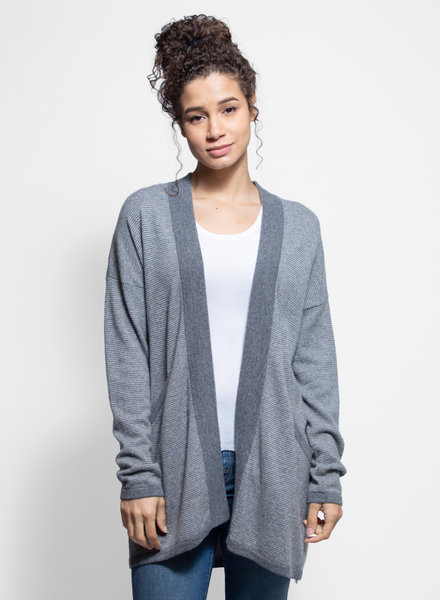 Kokun Mini Stripe Cardigan Cloud Grey