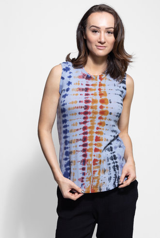 Raquel Allegra Muscle Tee Waterfall Rainbow Tie Dye