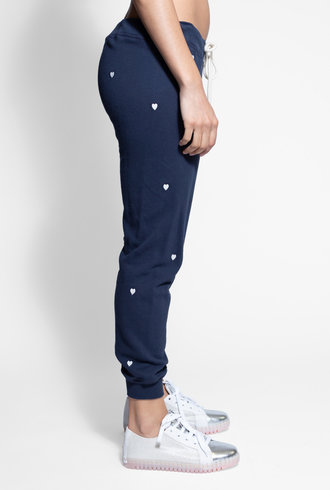 The Great Cropped Sweatpant Navy Hearts