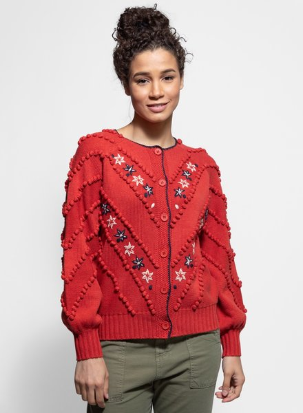The Great Meadow Bobble Cardigan Redwood