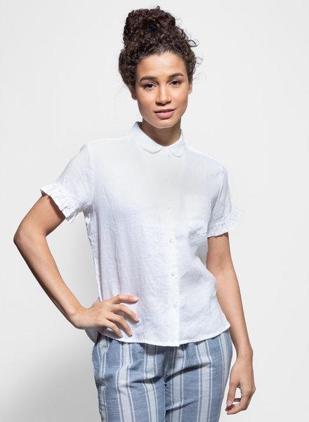 Trovata Tessa Short Sleeve Ruffle Shirt White