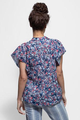 Trovata Brett Short Sleeve Bohemian Blouse Navy Floral