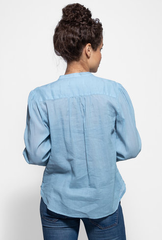 Trovata Hallie Pintuck Sleeve Shirt Light Blue