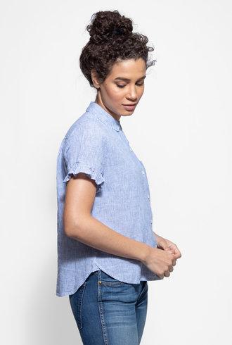 Trovata Tessa Short Sleeve Ruffle Shirt Blue & White Stripe