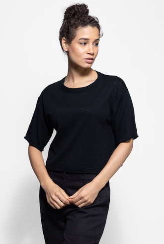 360 Sweater Lola Wide Neck Top Black