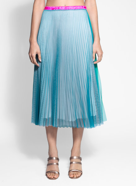 Loyd/Ford Pleated Two Tone Mesh Skirt Multi