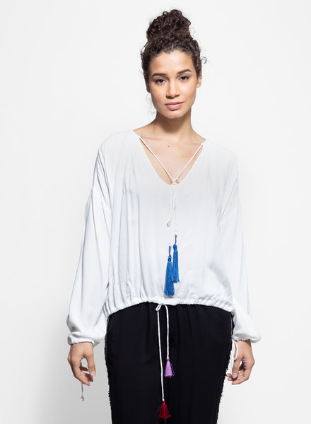 Loyd/Ford Long Sleeve Tassel Top White